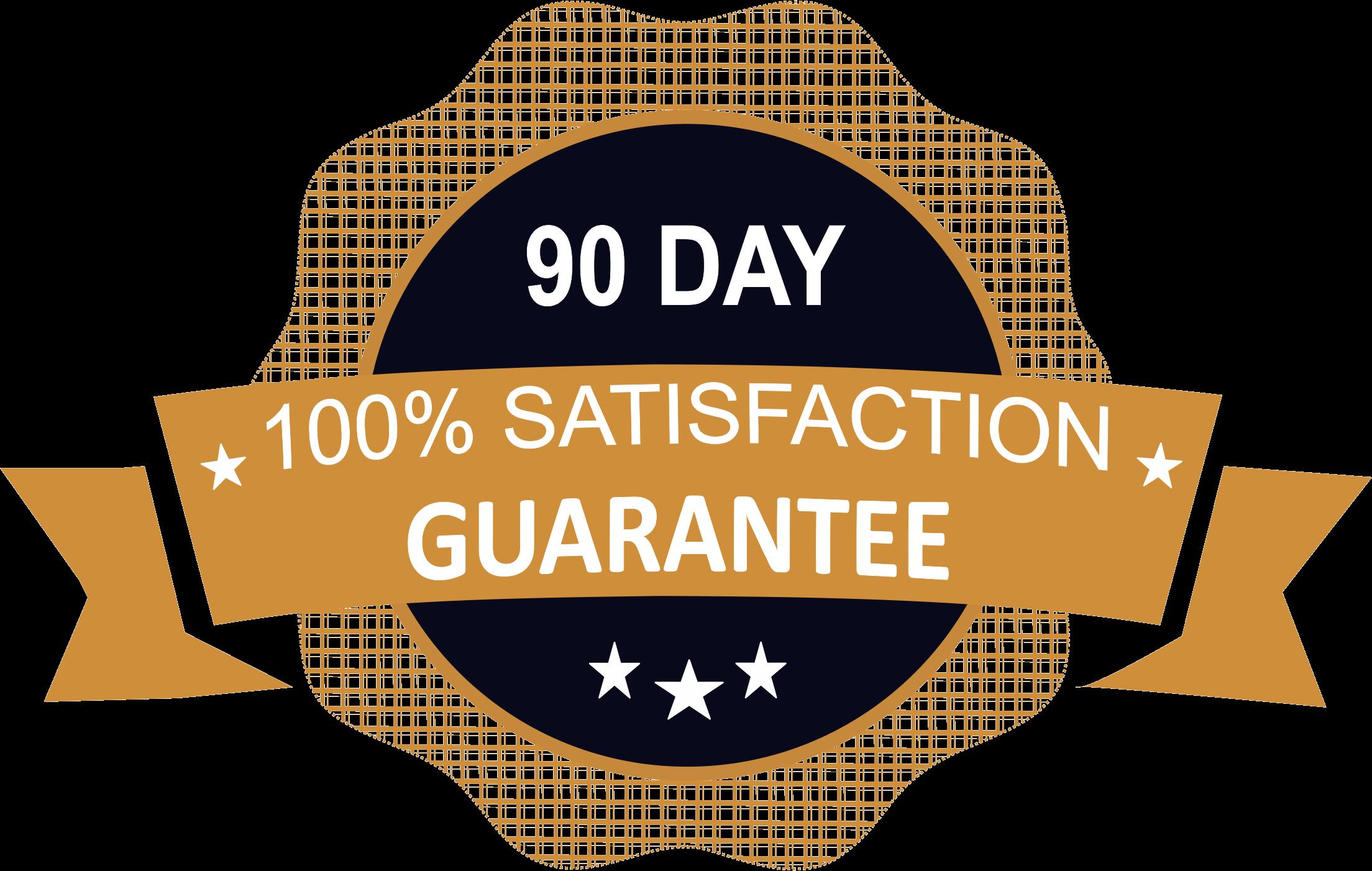 90 day 100% satisfaction guarantee