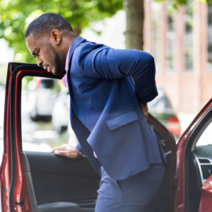 A man having a car accident during working hours