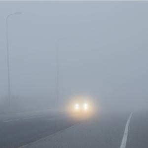 poor visibility and car the on road